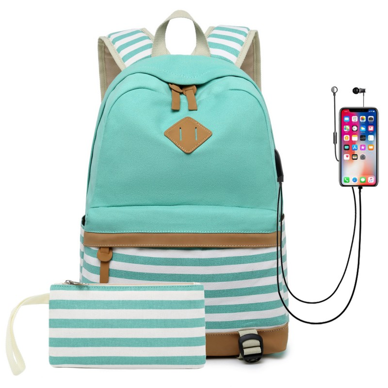 Blue School Backpack Canvas Bookbag Laptop Backpack With Usb Charger Port Travel Daypack
