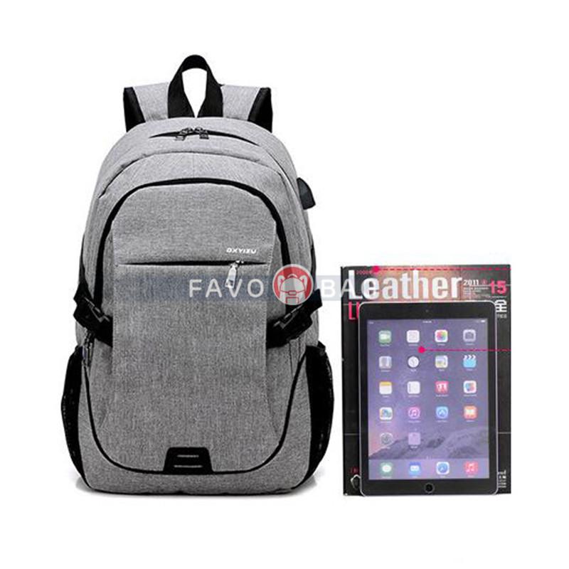 Grey Anti Theft Laptop Travel Backpacks Bookbag With Usb Charging Port