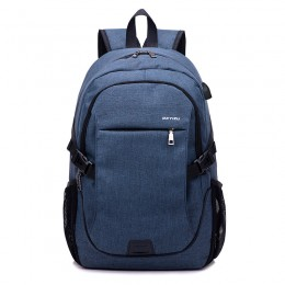 Blue Anti Theft Laptop Travel Backpacks Bookbag With Usb Charging Port
