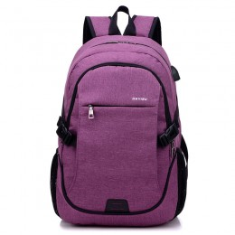 Purple Anti Theft Laptop Backpack Travel Backpacks Bookbag With Usb Charging Port