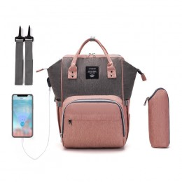 Pink And Grey Laptop Backpack For Travel Bags Business Computer Purse Work Bag With Usb Port