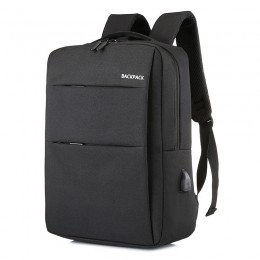 Black Laptop Water Resistant Computer Backpack With Usb Charging Port