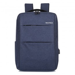 Blue Laptop College Business Travel Water Resistant Computer Backpack With Usb Charging Port