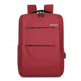 Red Laptop College Business Travel Water Resistant Computer Backpack With Usb Charging Port