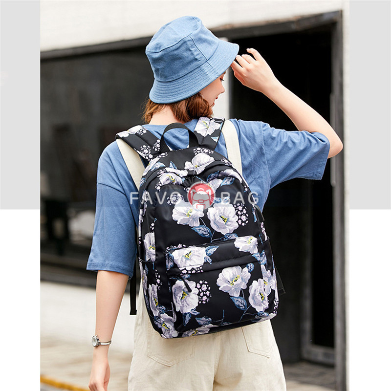 Blue Floral Backpack With Usb Charging Port Nylon