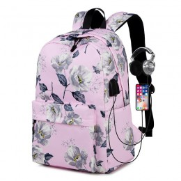 Pink Floral Backpack With Usb Charging Port Nylon