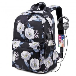 Black Floral Backpack With Usb Charging Port Nylon
