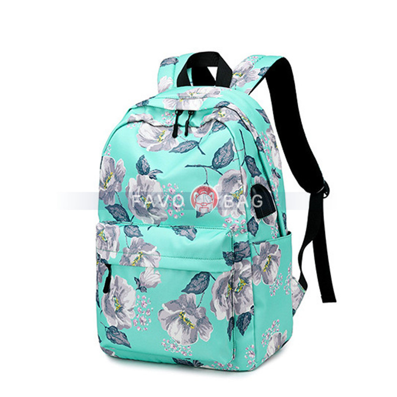 Green Floral Backpack With Usb Charging Port Nylon