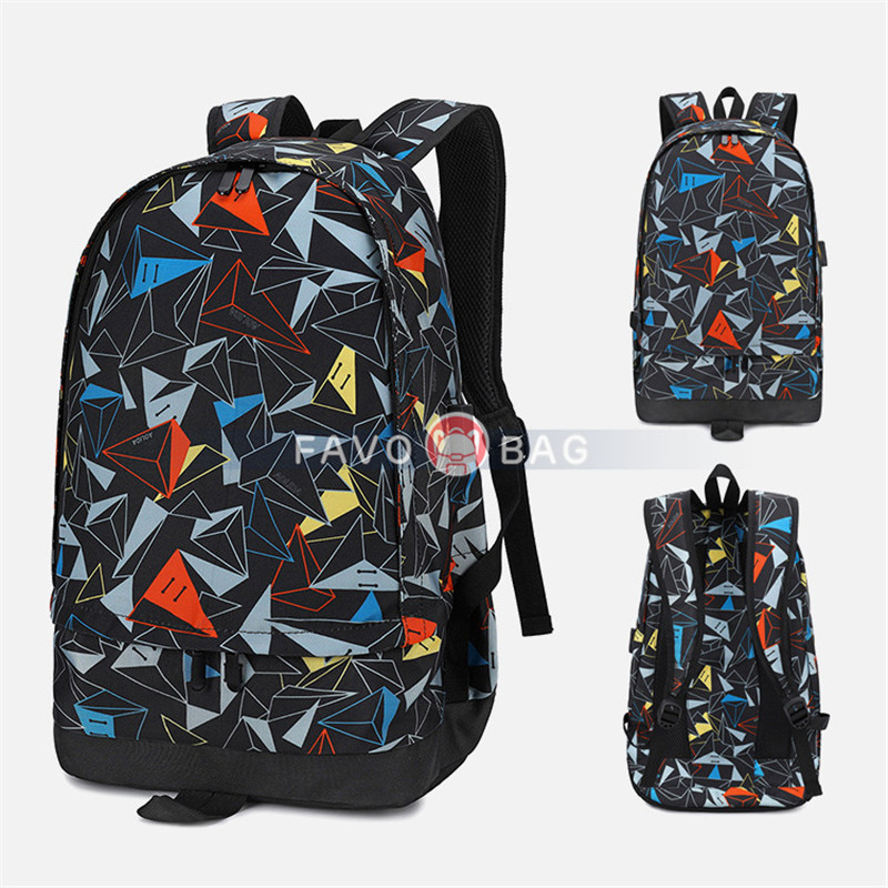 Blue Large Capacity School Oxford Backpack For Boys Hiking Sports Backpack