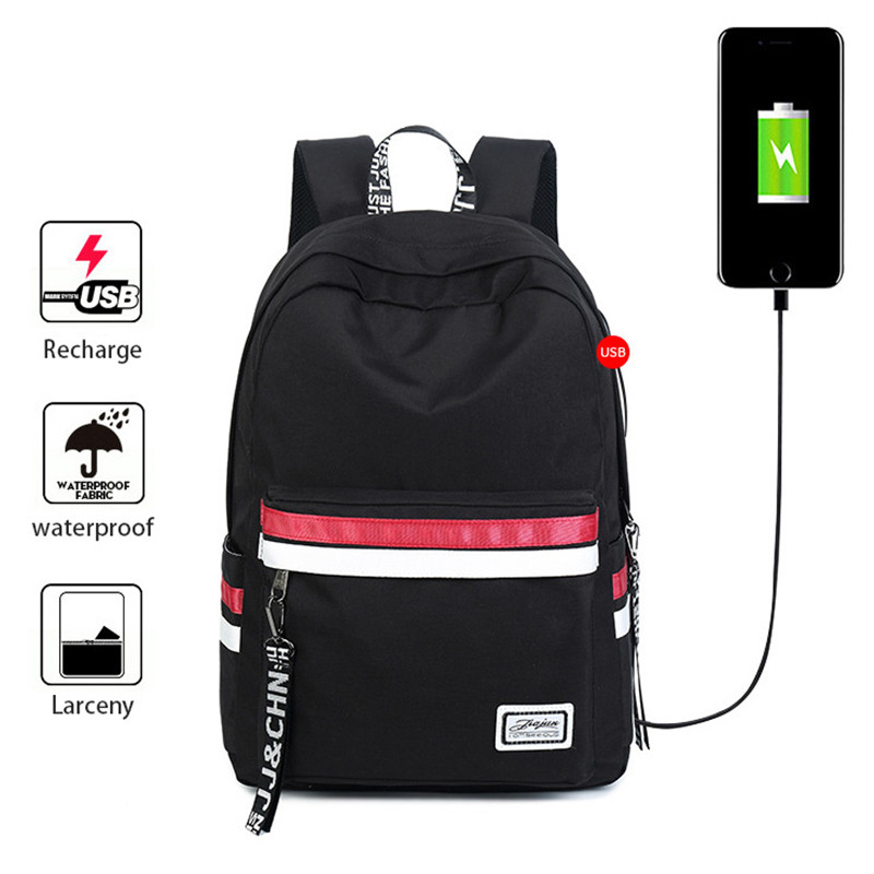 Black School Girls Book Bags Travel Backpack With Usb Charging Port