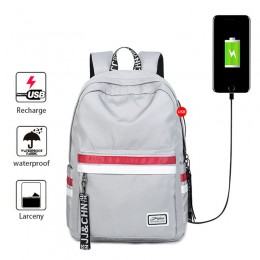 Grey School Backpacks For Girls Book Bags Travel Backpack With Usb Charging Port