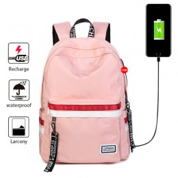 Pink School Backpacks For Girls Book Bags Travel Backpack With Usb Charging Port
