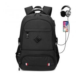 Black High School Boys Backpacks With Usb Charging Port