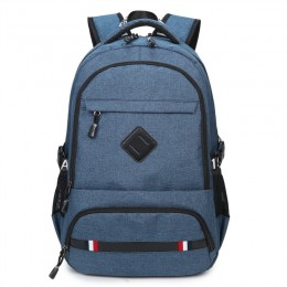 Blue High School Boys Backpacks With Usb Charging Port