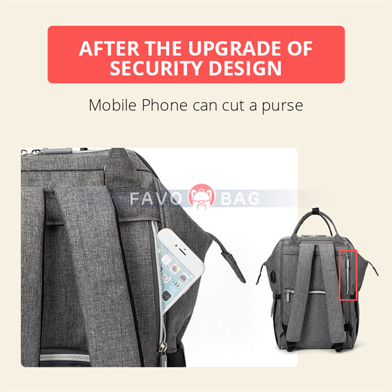 Grey Usb Diaper Bag Backpack With Stroller Straps Baby Changing Pad