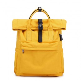 Yellow Travel Laptop Backpack For Women Huge Capacity Computer Notebook Bag