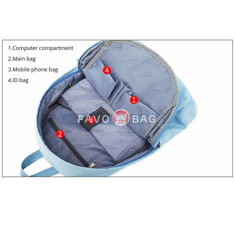 Blue Girls' Casual Oversized Backpack With Usb Charging Port