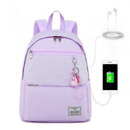 Purple Girls' Casual Oversized Backpack With Usb Charging Port