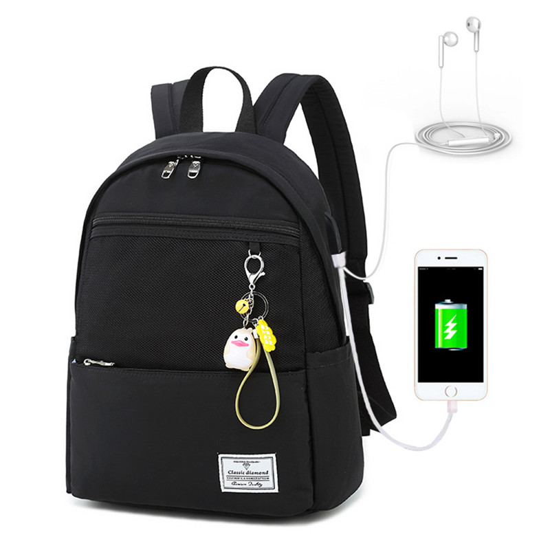 Black Girls' Casual Oversized Backpack With Usb Charging Port