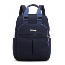 Navy Blue Mini Girls Backpack Laptop Travel Bag Handbag With Usb Charging Port