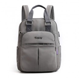 Grey Mini Girls Backpack Laptop Travel Bag Handbag With Usb Charging Port
