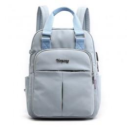 Light Blue Mini Girls Backpack Laptop Travel Bag Handbag With Usb Charging Port