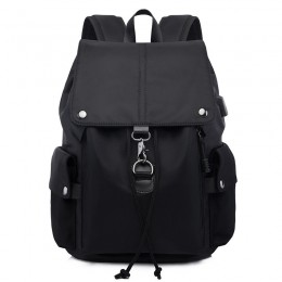 Black Unique Outdoor Backpack For Teens Nylon Travel Bag Lightweight Waterproof Bag