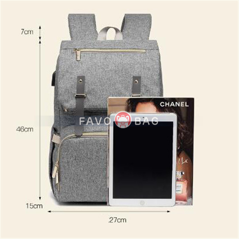 Grey Laptop Vintage College Backpack Travel Laptop Bookbags With Usb Charging Port