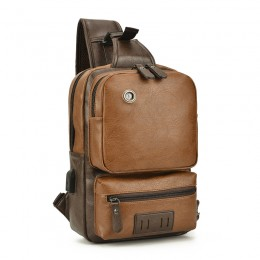 Crossbody Pu Leather Shoulder Backpack With Usb Charging Port