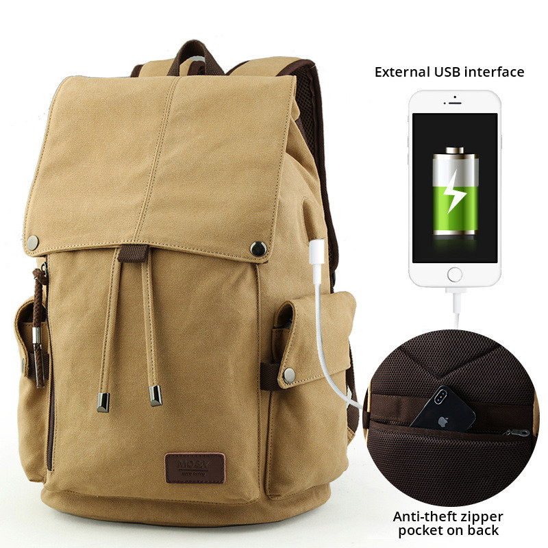 Grey Backpack Schoolbag With Usb Charge College Junior Students High School Travel Outdoor