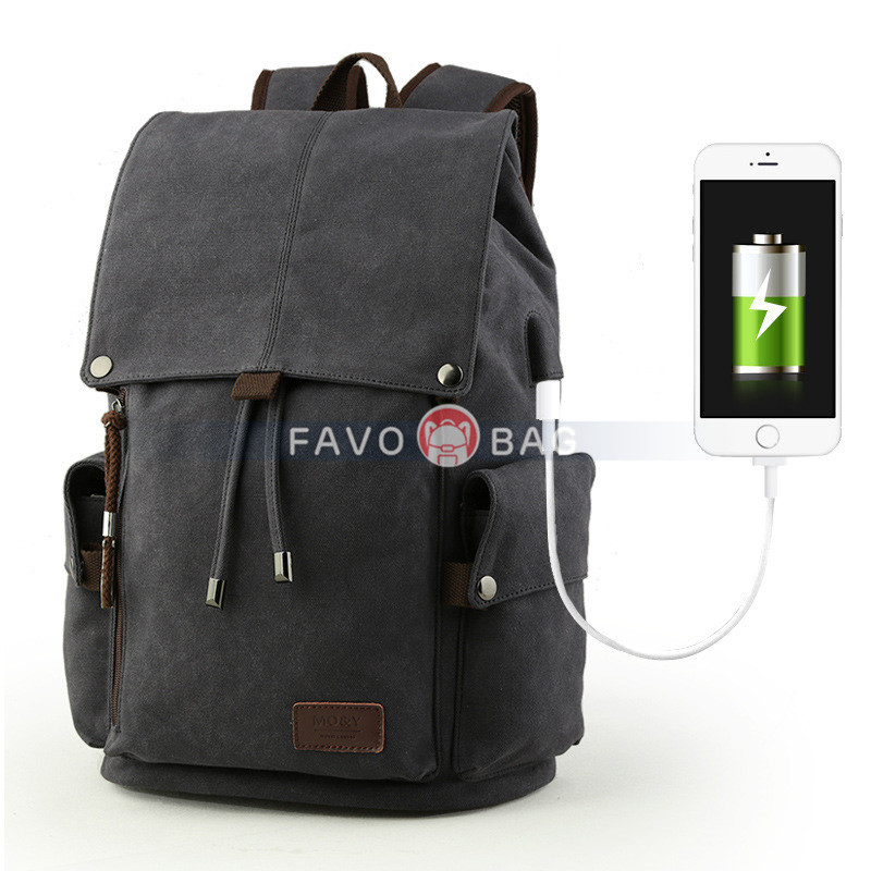 Black Backpack Schoolbag With Usb Charge College Junior Students High School Travel Outdoor
