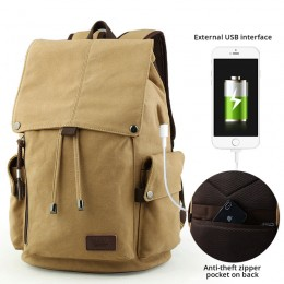 Khaki Backpack Schoolbag With Usb Charge College Junior Students High School Travel Outdoor