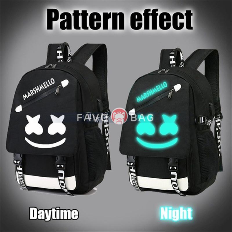 Black Smile Backpack With Usb Charging Port Safety Lock Dj Music Laptop Backpack Large