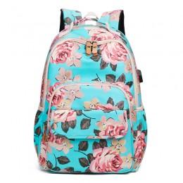 Blue School Backpack Girls Bookbag Daypack Usb Charging Port