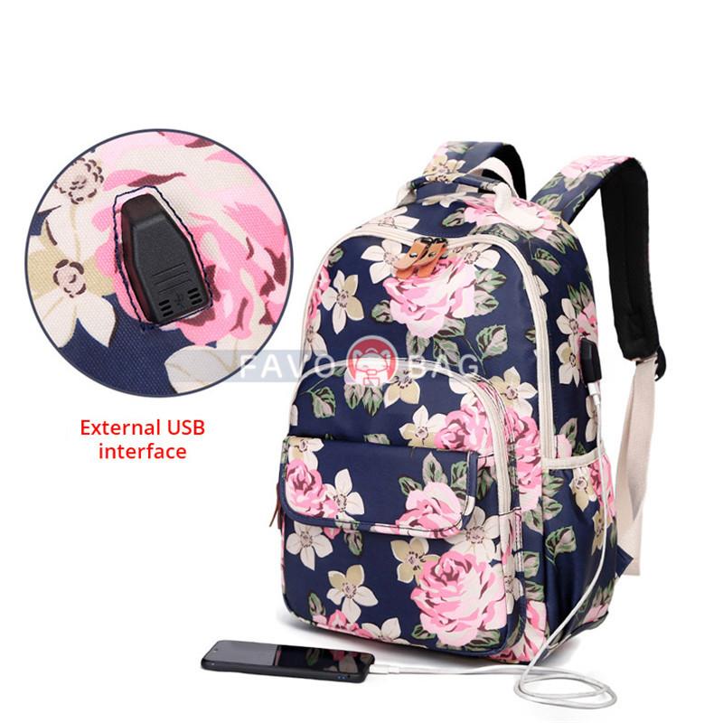 Dark Blue School Backpack Girls Bookbag Daypack Usb Charging Port