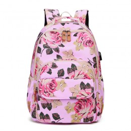 Pink School Backpack Girls Bookbag Daypack Usb Charging Port