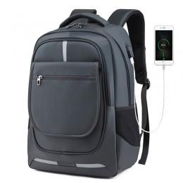 Grey Men Women Laptop Backpack Computer Tech Usb College School Bag