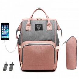 Dad & Mom Diaper Bag Backpack with USB Charger Port & Insulated Bottle Keeper & Stroller Straps