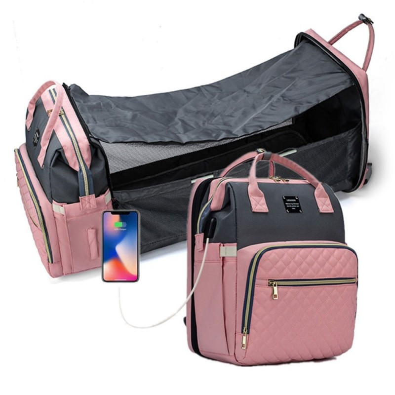 USB Charger Diaper Bag Backpack with Extendable Folding Crib Large Capacity Travel Outdoor Bag