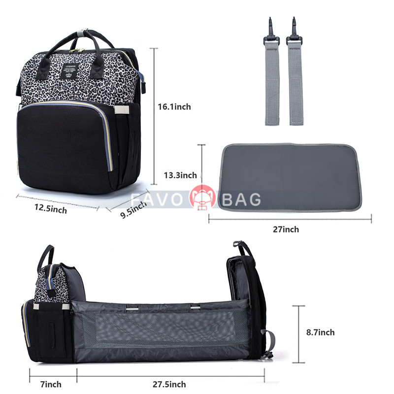 3 in 1 Diaper Bag Backpack with Changing Station Baby Bag Portable Mummy Bag with USB Charging Port