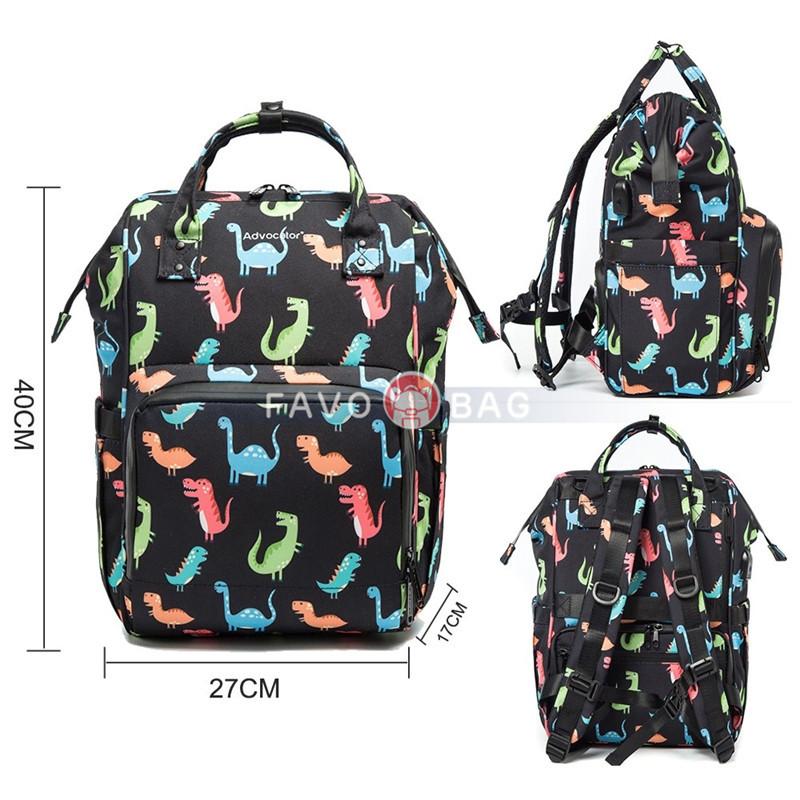 Best Diaper Bag Dinosaur Printing Multi-Function Backpack Waterproof Travel Backpack Large Capacity Baby Bag