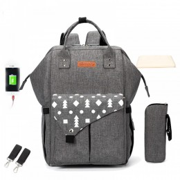 Popular USB Diaper Bag Backpack for Mummy Dad with Stroller Straps Baby Changing Pad Grey/Black/Blue