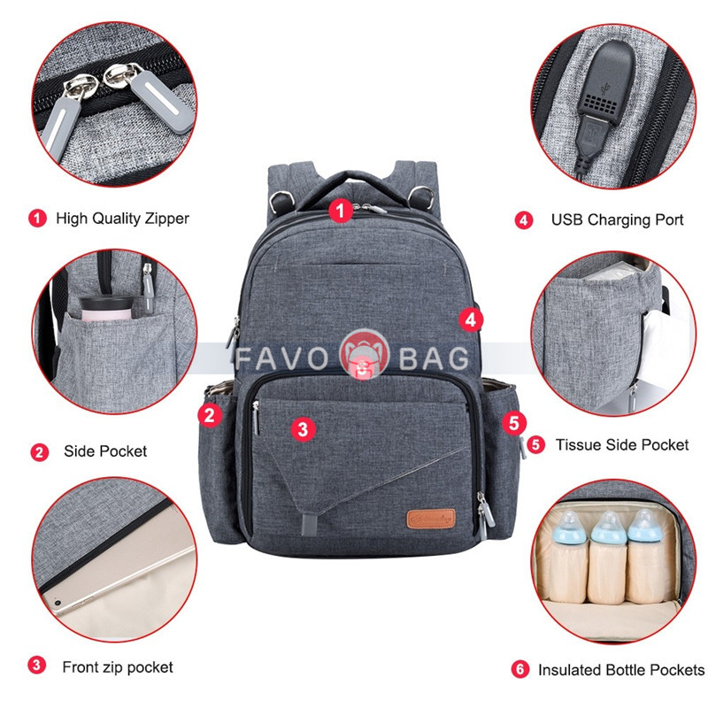 Baby Backpack Diaper Bag Large Capacity Multi-Functional Business Travel Nappy Bag for Maternity Mom Dad with Changing Pad