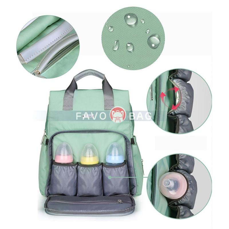 Fashion Green Diaper Bag Candy Color Outdoor Waterproof Backpack Handbag