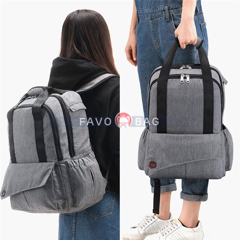 Grey Big Diaper Bag Durable Oxford Nappy Backpack Handbag with Changing Pad