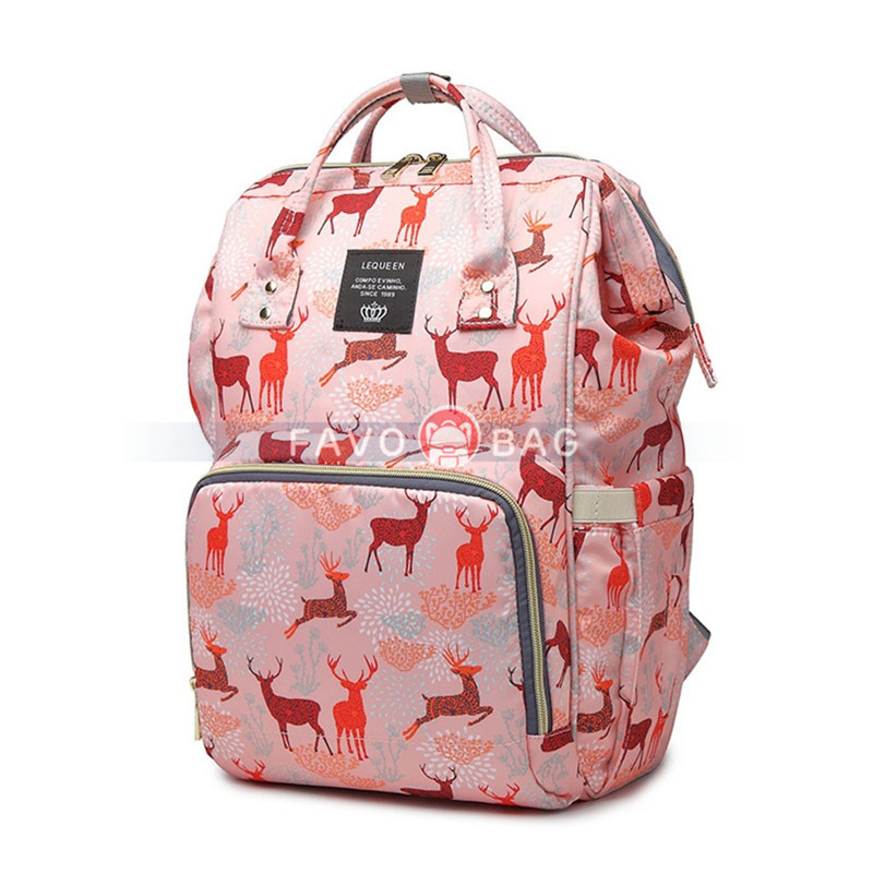 Cute Cartoon Diaper Bag Animal Printing Backpack Big Travel Bag for Mummy Daddy