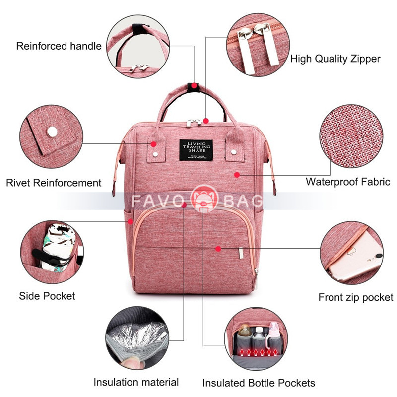 Pink Diaper Bag Multi-Function Waterproof Travel Backpack Nappy Bags for Baby Care