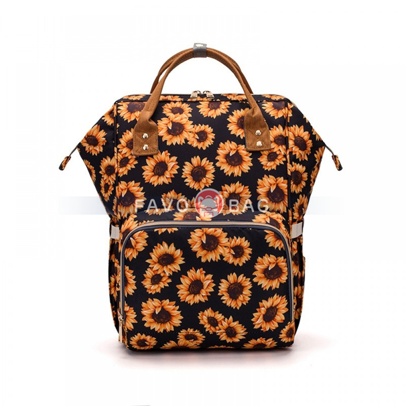 Mum Outdoor Diaper Bag Backpack Fun Floral Printing Big Travel Bag Baby Nappy Bag Top Level