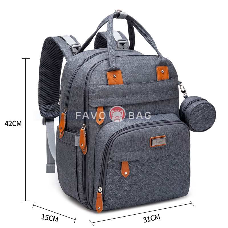Baby Nappy Changing Bags Multifunction Waterproof Travel Back Pack with Changing Pad & Stroller Straps & Pacifier Case