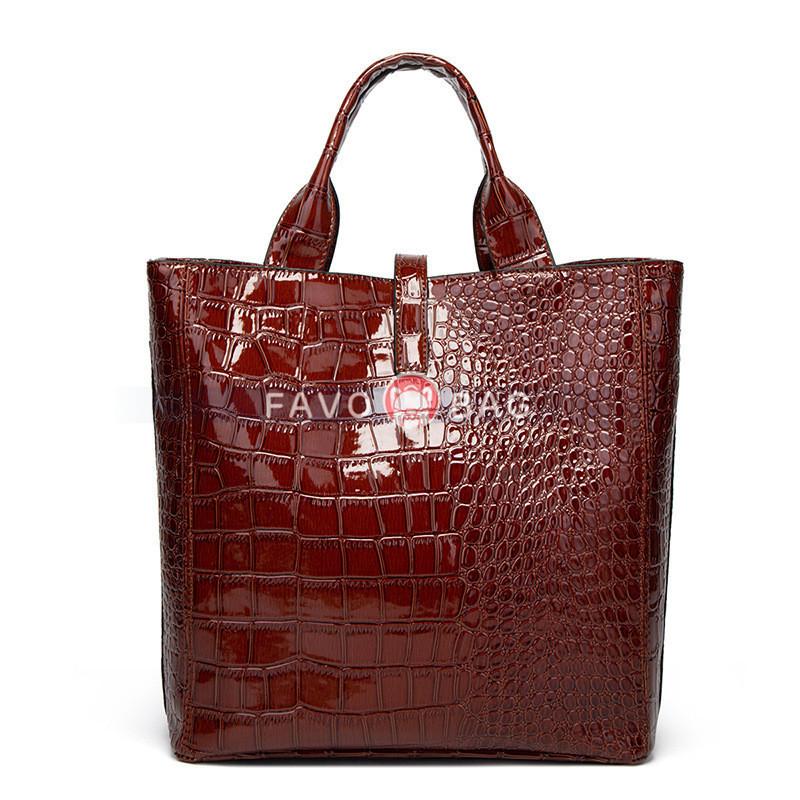Women's Tote Top Handle Handbags Crocodile Pattern Leather Cross-body Purse Shoulder Bags